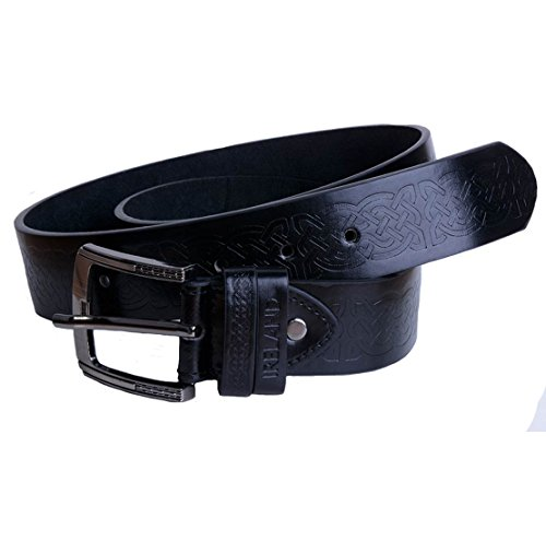 Black Leather Belt With Celtic - Irish Belt