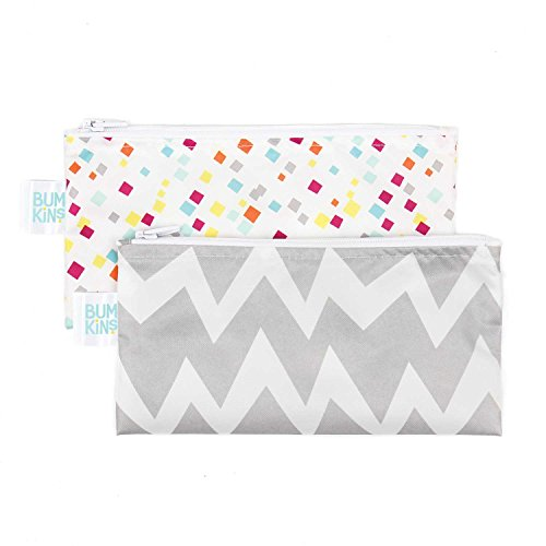 Bumkins Snack Bags, Reusable, Washable, Food Safe, BPA Free, 2-Pack - Gray Chevron & Confetti