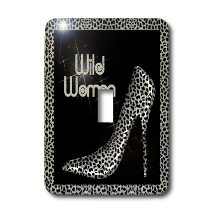 3dRose LLC lsp_21802_1 Silver Cheetah Print Wild Woman Stiletto Pump and Bling Single Toggle Switch