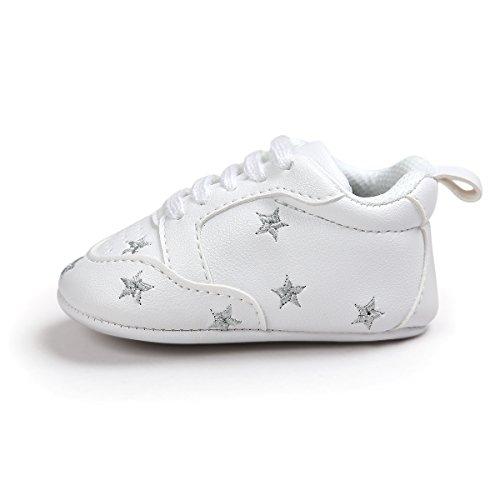 Itaar bebé niños niñas zapatillas con cordones suela suave piel sintética bordado infantil Prewalker zapatos Silver Stars Talla:6-12 meses Silver Stars