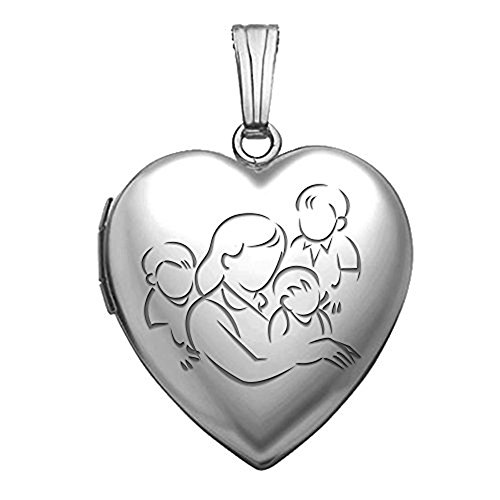 Sterling Silver Mom Heart Locket (Sterling Silver