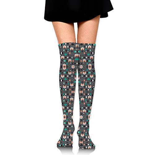 - DFAUHAL Geometric Fox and Pine Tree Illustration Pattern F Knee High Graduated Compression Socks for Unisex - Best Medical, Nursing, Travel & Flight Socks - Running & Fitness