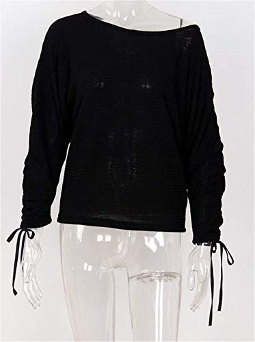 Lunga Autunno Top Donna Manica Felpe Di Bluse Schwarz Tops Elegante Monocromo Casual Tunica Mode Primaverile Shirt Baggy Marca wgUXXqR