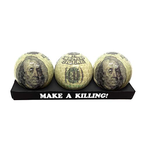 Golf Balls,Golf Ball Gift Pack Set,3Pack Money Ball Hundred Dollar Bills Benjamin Franklin Hundred pounds Elizabeth II Euro (Dollars)