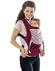 AMAZONAS Ergonomische Babytrage Smart Carrier mit Kapuze für Neugeborene & Kleinkinder Mitwachsend ab 0-3 Jahre bis 15 kg 100% Baumwolle bordeaux