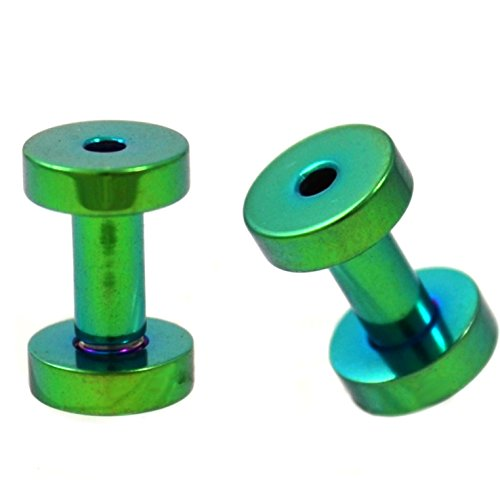 Pair (2) Green Titanium Plated Steel Screw Fit Ear Plugs Tunnels Gauges- 8G 3MM