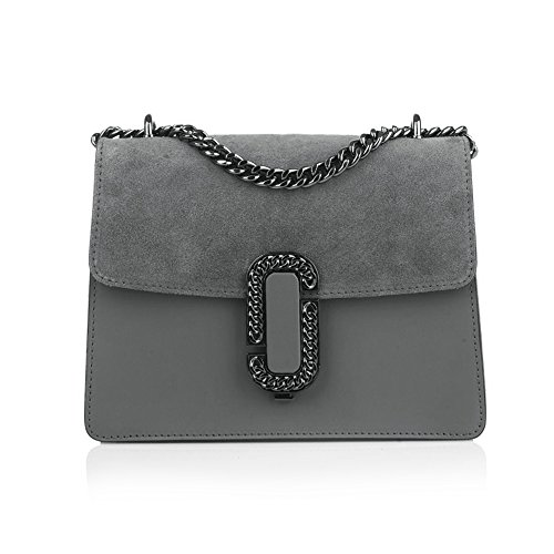 smooth leather dark metal flap bag GENEVRA and mini accessory clutch suede chain grey Baugette with and C07qwO6