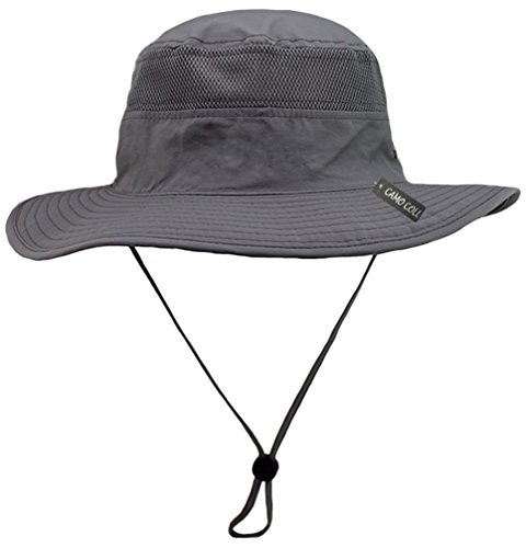 Camo Coll Outdoor UPF 50+ Boonie Hat Summer Sun Caps (One Size, Gray)
