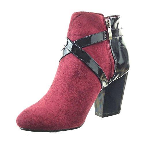 Sopily - Zapatillas de Moda Botines bimaterial Tobillo mujer Hebilla brillantes Talón Tacón ancho alto 8 CM - Rojo
