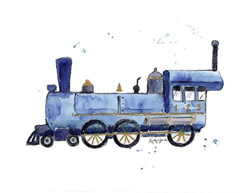 - Navy Blue Train Print for Kids Room   8.5 x 11 Inch Gallery Quality Fine Art Giclée Print