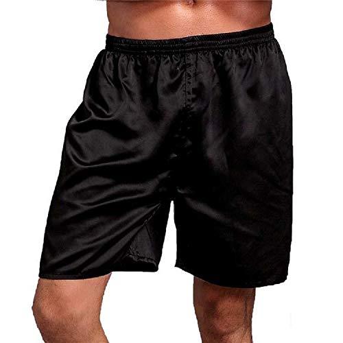 Bottom Pants Pajama (Evelove Men Casual Solid Elastic Waist Loose Pajama Short Pants Sleep Bottoms Black)