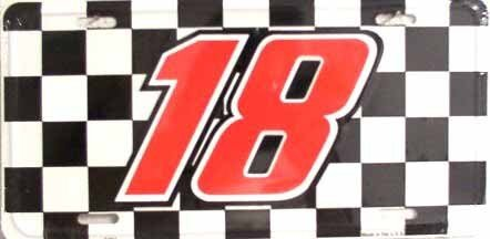 Smart Blonde NASCAR Kyle Busch #18 Racing Checkered Flag Novelty Vanity Metal License Plate Tag Sign