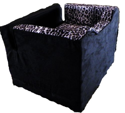 Pampered Pets Car Seat with The Wedge for Pets, Medium, Black Suede with Leopard Print