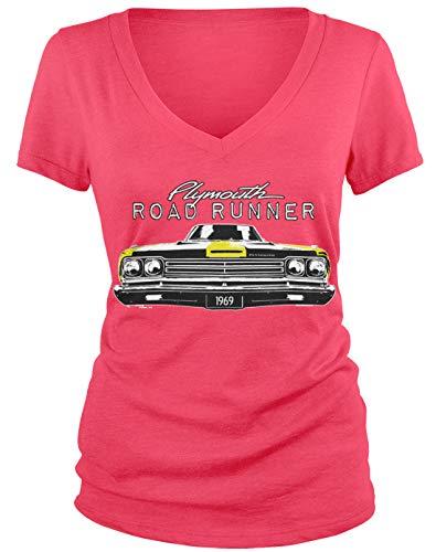 Amdesco Junior's Plymouth Road Runner Officially Licensed V-Neck T-Shirt, Azalea Small ()