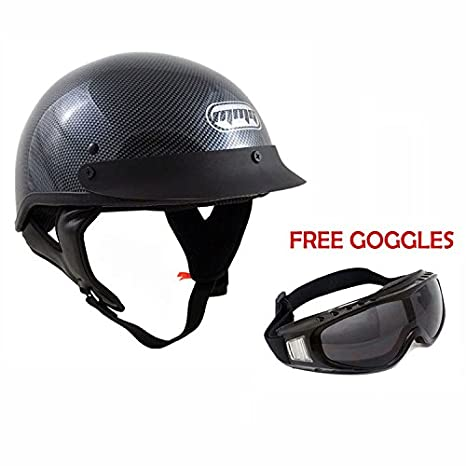 Motorcycle Half Helmet Cruiser DOT Street Legal - Carbon Fiber (Medium)