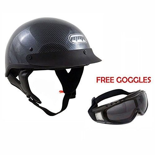 Motorcycle Half Helmet Cruiser DOT Street Legal - Carbon Fiber (Medium)