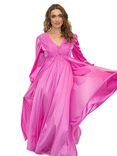 Shadowline Women's Plus Size Silhouette 54 Inch Long Sleeve Coat, Flamingo Pink, 3X