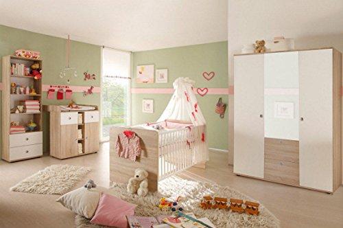 Babyzimmer WIKI 2 in Eiche Sonoma / Weiß - 4-tlg Babymöbel komplett Set mit grossem Schrank mit Spiegeltür, Babybett, Lattenrost, Regal und Wickelkommode mit Wickelaufsatz