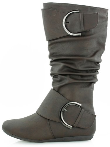 Moda Toe Round Top with Brown Buckle Women's Slouchy Boot 6wSSzxt