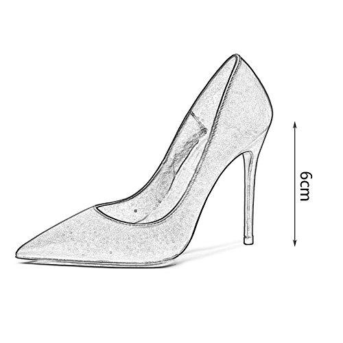 Profesi Zapatos with Tip Mujer De Fine Royal Joker Sexy De Satin Zapatos Zapatos Altos Tacones Banquete Champagne Blue De WENJUN Boda qRwCtz6x