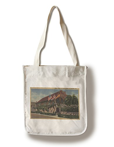 St. Augustine, FL - View of St. Francis St. and House (100% Cotton Tote Bag - Reusable, Gussets, Made in - Augustine Shopping Fl St