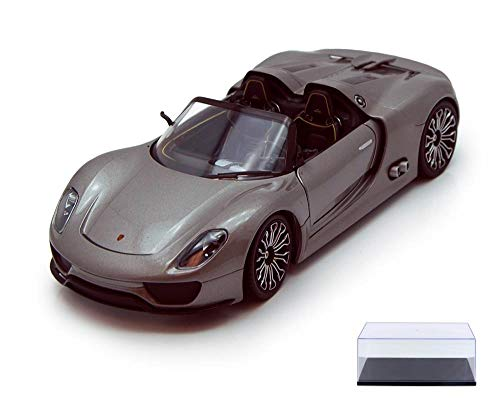 Welly Diecast Car & Display Case Package - Porsche 918 Spyder Convertible, Gray 24031 - 1/24 Scale Diecast Model Toy Car w/Display Case