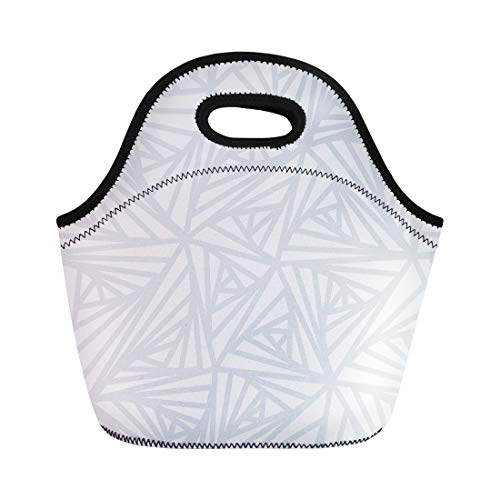 Semtomn Lunch Tote Bag Gray Abstract Line Geometric Light White and Grey Winter Reusable Neoprene Insulated Thermal Outdoor Picnic Lunchbox for Men Women