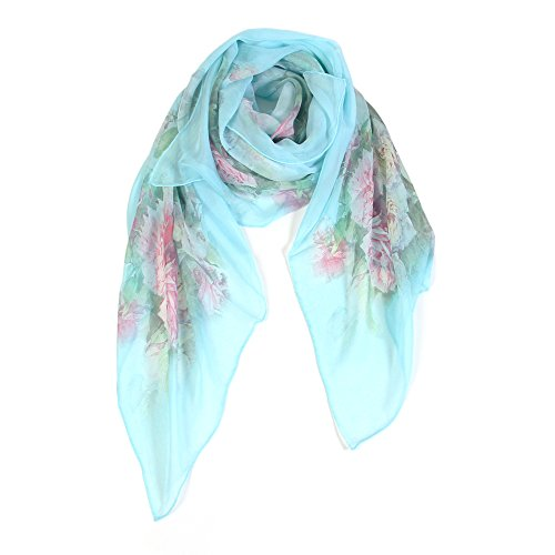 Scarfand's 100% Chiffon Silk Floral Print Fashion Scarf Evening Shawl (Turquoise Rose)