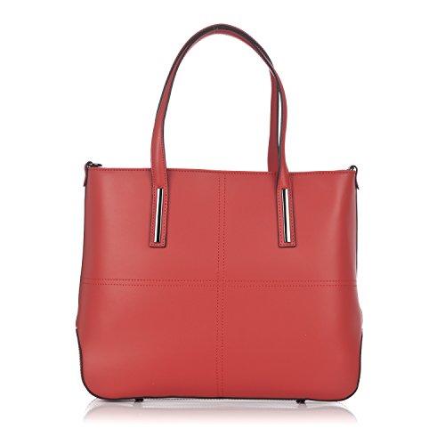 Laura Moretti - Bolso de piel auténtica con costuras Rojo