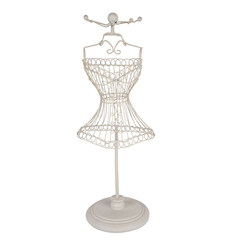 NIKKY HOME White Metal Wire Frame Vintage Mannequin Jewelry Earring Necklace Stand Display - 4 (Metal Dress Form)