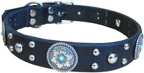 "Paco Collars - ""Pepper"" - Handmade Leather Medium Dog Collar - 1""Wide - Silver - Black 20""-22"""