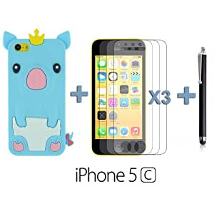 OnlineBestDigital - Piggy Style Silicone Case for Apple iPhone 5C - Light Blue with 3 Screen Protectors and Stylus