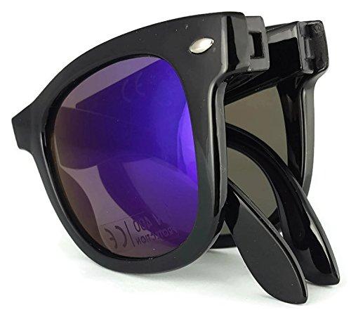 FW5848 Black Folding foldable Style Sunglasses Blue Reflective Outer Lens 100/% UV400 Protection Unisex