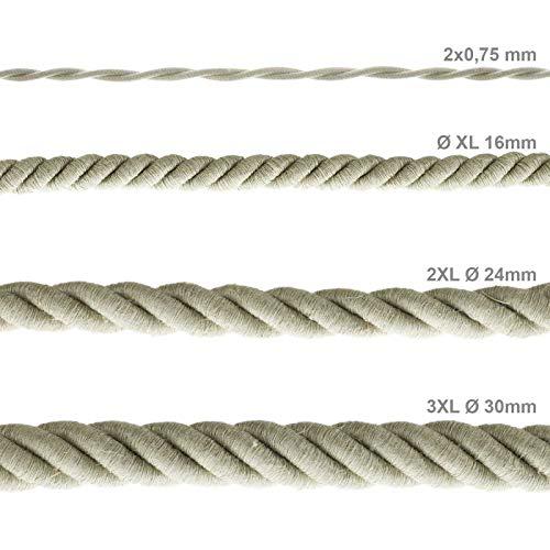 Diametro 30mm. cavo elettrico 3x0,75 Cordone 3XL Rivestimento in lino naturale
