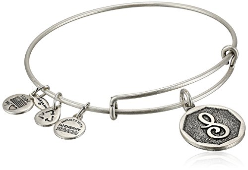 "Alex and Ani Rafaelian Silver-Tone Initial ""S"" Expandable Wire Bangle Bracelet, 2.5"""