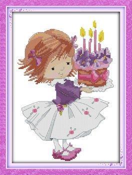 Joy Sunday Cross Stitch kits, Happy birthday-sweet girl,11CT