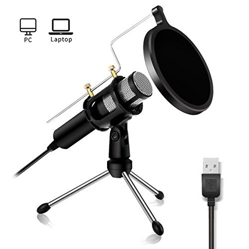 Professional Condenser Microphone - NASUM USB Plug &Play Home Studio microphones, dual-layer acoustic filter, for YouTube, Facebook, podcasting, games (Windows / Mac)