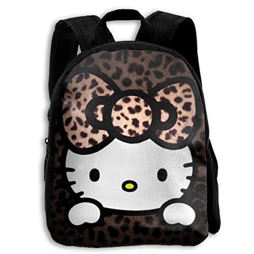 MPJTJGWZ Children's Backpack Casual Oxford Cloth Fashion Leopard Hello Kitty Print School Bag - Hello Kitty Leopard Print