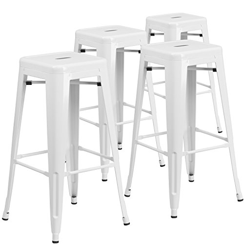 Flash Furniture 4 Pk. 30'' High Backless White Metal Indoor-Outdoor Barstool with Square Seat (White Stools)