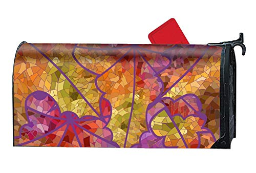 - XW-FGF Mailbox Cover Magnetic Mailbox Wrap with Decorative Summer Themed Design Abstract of Mosaic Maple Leaves