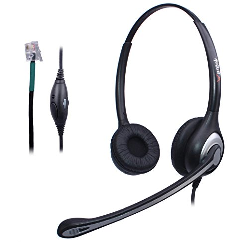 Wantek Wired Call Center Telephone Headset with Noise Canceling Mic and Volume Mute Control for Avaya 1408 6402D Allworx 9112 NEC Aspire DT310 Mitel 5010 Plantronics T10 IP Phones(F602S4)