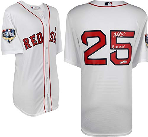 Steve Pearce Boston Red Sox 2018 MLB World Series Champions Autographed Majestic White Replica Jersey with 2018 WS MVP Inscription - Fanatics Authentic ()