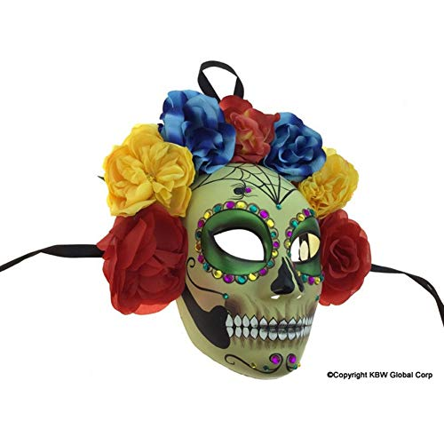 Scary Skull Mask Flower Floral Design Painted Face Halloween Parties Novelty Weird Design