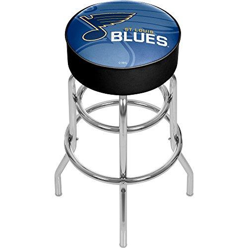 Louis Blues Bar Stool - Trademark Gameroom NHL1000-SLB-WM NHL Chrome bar Stool with Swivel - Watermark - St. Louis Bluesa