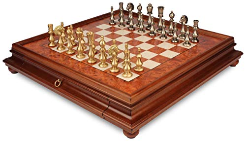 Large Contemporary Staunton Solid Brass Chess Set with Elm Burl Chess Case