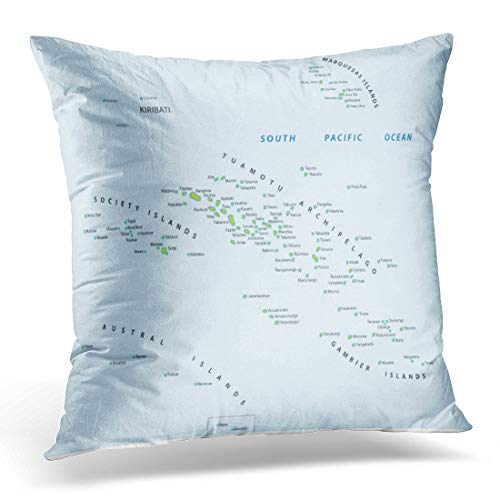 (Emvency Throw Pillow Cover Marquesas Tahiti French Polynesia Map Society Pacific Decorative Pillow Case Home Decor Square 20x20 Inches Pillowcase)
