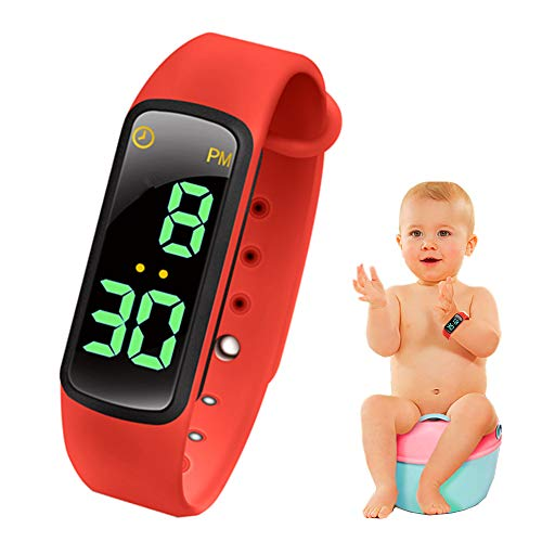 - bopopo Potty Training Watch - Baby Reminder Water Resistant Timer - Potty Trainer for Girls & Boys - Kids & Toddler Training Toilet Watches - LED Screen,9 Songs Loops(Red)