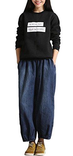 Youtobin Women's Elastic Waist Wide Leg Pants Denim Baggy Harem Jeans L (Tall Stretch Bootcut Cord)