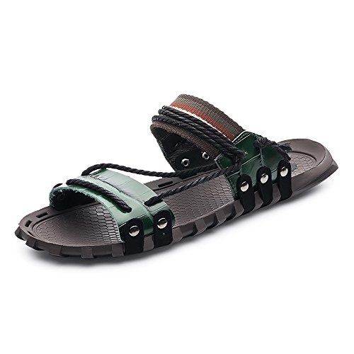 for Soft Leather Shoes Slip Men Rope Casual Ruiyue Slippers,Open Beach Hemp Sandals Non Genuine Flat Toe Green 0OOx6dn