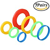 play dough holder - Coobey 7 Pairs Silicone Rolling Pin Rings Rolling Pin Spacer Bands Guide Rings, 14 Pieces